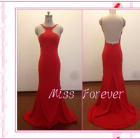 Red Evening Dresses,Mermaid Prom Dress,Straps Party Gowns,Backless Evening Gowns,Long Plus Size Lady Gown for weddings