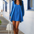 Blue Loose Fitting Mini Chiffon Dress with Sleeves Slit