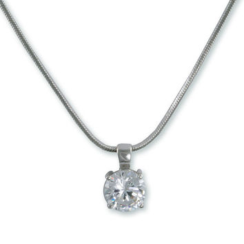 Rhodium CZ pendant on snake chain