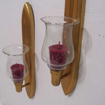 Superbe Vintage Wood Candle Holders // Sconces With Hand Blown Glass Vot