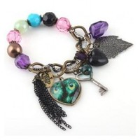 SODIAL(TM) Fashion Lady Cute Nice Charm Lovely Heart Peacock Leaf Key Bangle Bracelet Chain