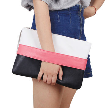 Solid Patchwork Lady Day Clutch