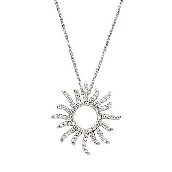 3/8 cttw Diamond Sun Necklace in 14k White Gold