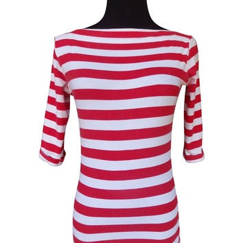 Classy Stripe Red-Designer Womens Classic Boatneck Top