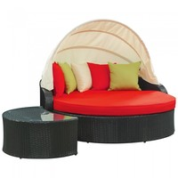 Perectiona Canopy Daybed in Espresso Red by Modway | EEI-731-SET