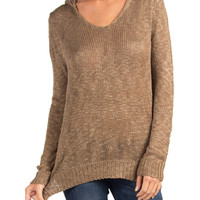 V-NECK LONG SLEEVE HOODED KNIT TOP