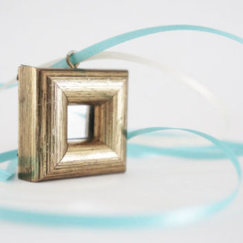 Miniature Picture Frame, Framed Mirror Pendant  - Gold, Painted Wood, 1970's