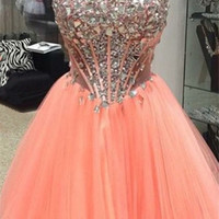 Orange Sweetheart Homecoming Dress,Strapless Crystal Homecoming Dresses