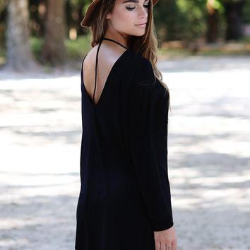 Black DLMN Long Sleeve T-Back Tunic