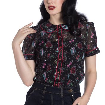 Hell Bunny Rockabilly Tattoo Art Red Piping Trim Stevie Blouse