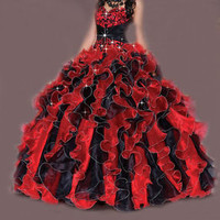New 2017 Ball Gown Ruffle Formal Prom Bridal Gown Quinceanera Dress Stock SZ2-16