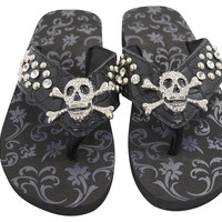 Gothic Punk Rock Bling Skull and Crossbone Concho Metal Bling Studed Black Flip Flops