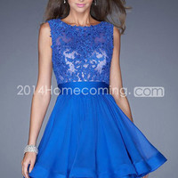 US $99.99 2014 Popular Homecoming Dresses Scoop Lace & Chiffon Dark Royal Blue Short/Mini Under 100