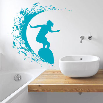 Wall Decal Vinyl Sticker Decals Art Home Decor Design Mural Surfer Surfboard Waves Sea Beach Extreme Sports Gift Kids Dorm Bedroom Art AN249