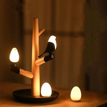Lucky Bird LED Wooden Table Lamp Base  Intelligent Motion Sensor Luminaria