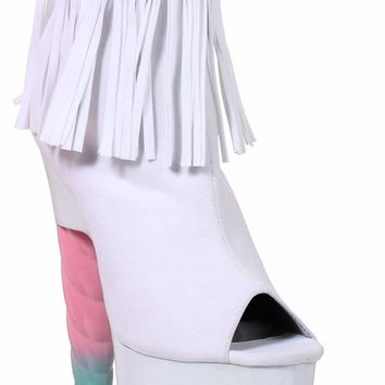 White 7 Inch Unicorn Heel Platform Ankle Boot With Fringe-Stripper Boots