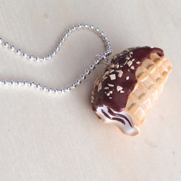 Choco Taco Polymer Clay Necklace