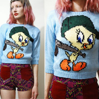 Vintage TWEETY BIRD Knit Sweater Jumper Knitted 80s Tiny Crop Cartoon Novelty Top 1980s vtg Kawaii xxs xs