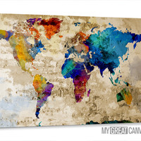 Retro Old and Colorful World Map Canvas Prints | Wall Art Map Canvas | Old World Map Canvas Painting