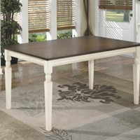 D583-25 Whitesburg Rectangular Dining Room Table - Brown/Cottage White - Free Shipping!