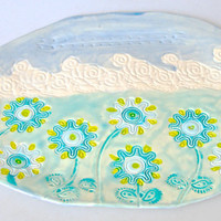 Flower Platter, Floral Decor, Hand Painted Ceramic Platter, organic shape, flower garden Platter, floral design, blue  yellow and turquoise