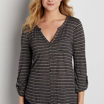 button down tee with 3/4 sleeves and stripes | maurices