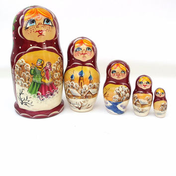 Vintage Nesting Dolls Wooden Matryoshka Russian Dolls Winter Scene Maroon Green Pink Blue Set of 5