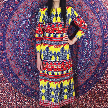 Vintage 60s 70s Mod Psychedelic Print Checkaberry Polyester Slinky Long Aline Maxi Dress S // M
