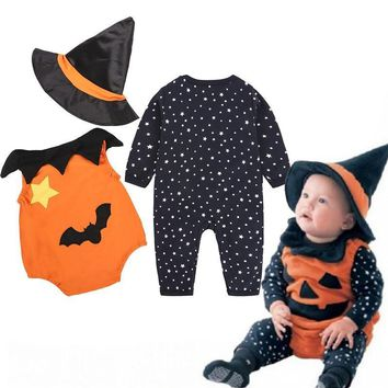 2018 Halloween Romper Bat Autumn Winter Newborn Jumpsuit Baby Rompers Boy Clothes Kids Costume For Girl Infant Pumpkin Demon Hat