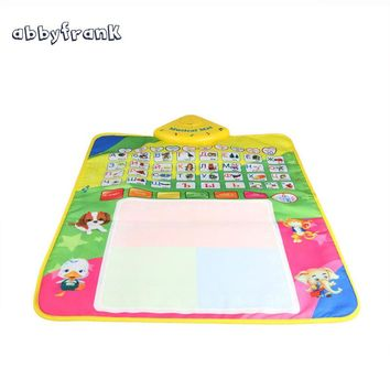 Abbyfrank Russian Alphabet Play Mat Baby Crawling Magic Pen Water Drawing Baby Carpet Musical Toy Rug Baby Games Toys for Kids