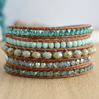 Long wrap bracelet. Beaded silver, mint and turquoise bead bracelet