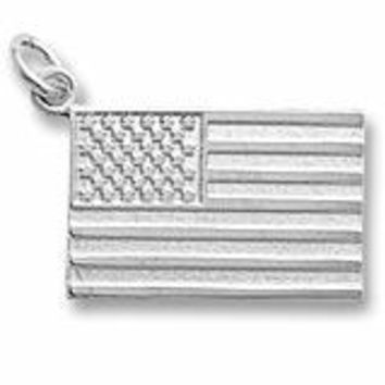 American Flag Charm In 14K White Gold