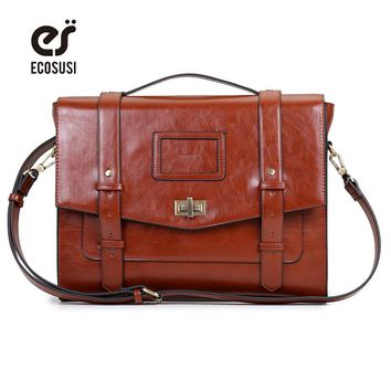 "ECOSUSI New Design Women Messenger Bags Vintage PU Leather Handbag Crossbody Satchel Briefcase Bolsas Femininas for 14.7"" Laptop"