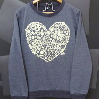Flower heart sweater grey black winter clothing size S,M,L,XL,XXL cute jumper sweatshirts men women long sleeve crew neck t shirt