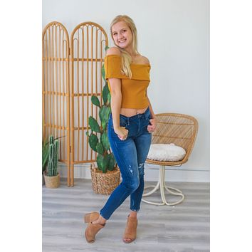 Out In Style Crop Top - Goldenrod