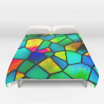 colorful stained glass Duvet Cover by Haroulita