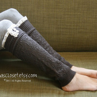 The Lacey Lou Graphite Openwork Legwarmers with by GraceandLaceCo