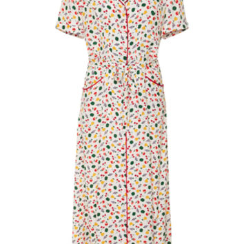 M'O Exclusive Maria Fruit Salad-Print Silk Long Dress | Moda Operandi