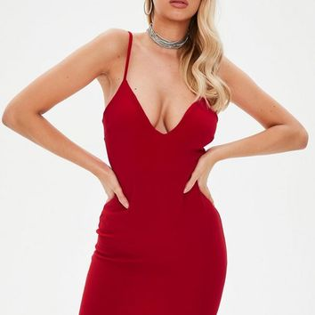 Missguided - Red Strappy Plunge Asymmetric Hem Dress