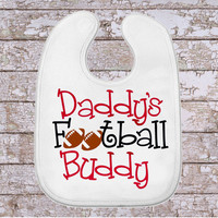 Daddy's Football Buddy, Baby Bib, Football Baby Bib, Sports Baby Bib, Infant Boy Bib, Funny Baby Bib, Monogrammed Bib