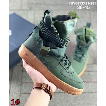 Nike Air Force 1 SF AF1 Trending Women Men Stylish Leather High Top Running Sport Shoes Sneakers 1# Green I-AA-SDDSL-KHZHXMKH