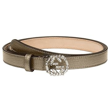 Gucci Women's Grey Metallic Leather Crystal Interlocking GG Buckle Belt
