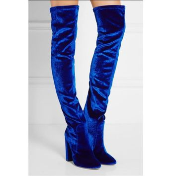 Thick with high knee-high boots stretch boots with velvet boots blue-1