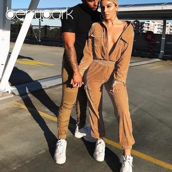BerryPark 2019 High Fashion Winter Rompers Women High Quality Velour Casual Loose Long Sleeve Pocket Jumpsuits