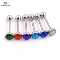Oil Drop 1pc fashion Shinning tongue ring stud stainless steel man woman fashion jewelry silver Color tongue piercing jewelry