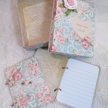 Wedding Vow Book Set - Pink and Light Teal/ Blue Vintage- Shabby-with Lace and Rose accents- Matching Keepsake Box