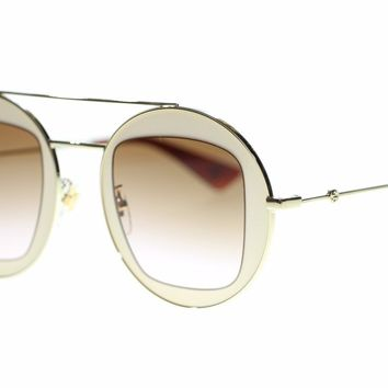 Gucci Women Sunglasses GG0105S-007 Beige Gold Brown Gradient Lens 47mm Authentic