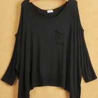 Women Euro Style Loose Casual Pocket Off the Shoulder Bat-wing Sleeve Black Cotton T-Shirt One Size@WH0090b $12.99 only in eFexcity.com.