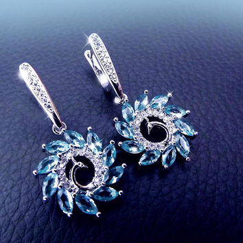Aquamarine earrings, Peacock earrings, blue earrings, aqua earrings, sterling silver earrings, statement earrings, elegant earrings, OOAK