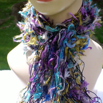 Fringe Scarf for Women Blue, Yellow, Purple, Turquoise, Fiber Arts